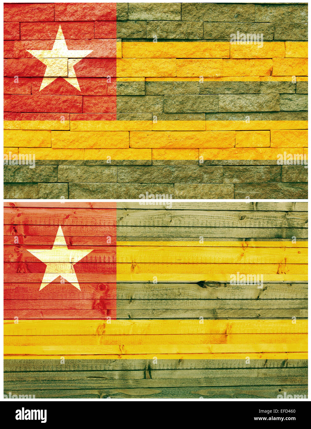 Vintage wall flag of Togo - Stock Image