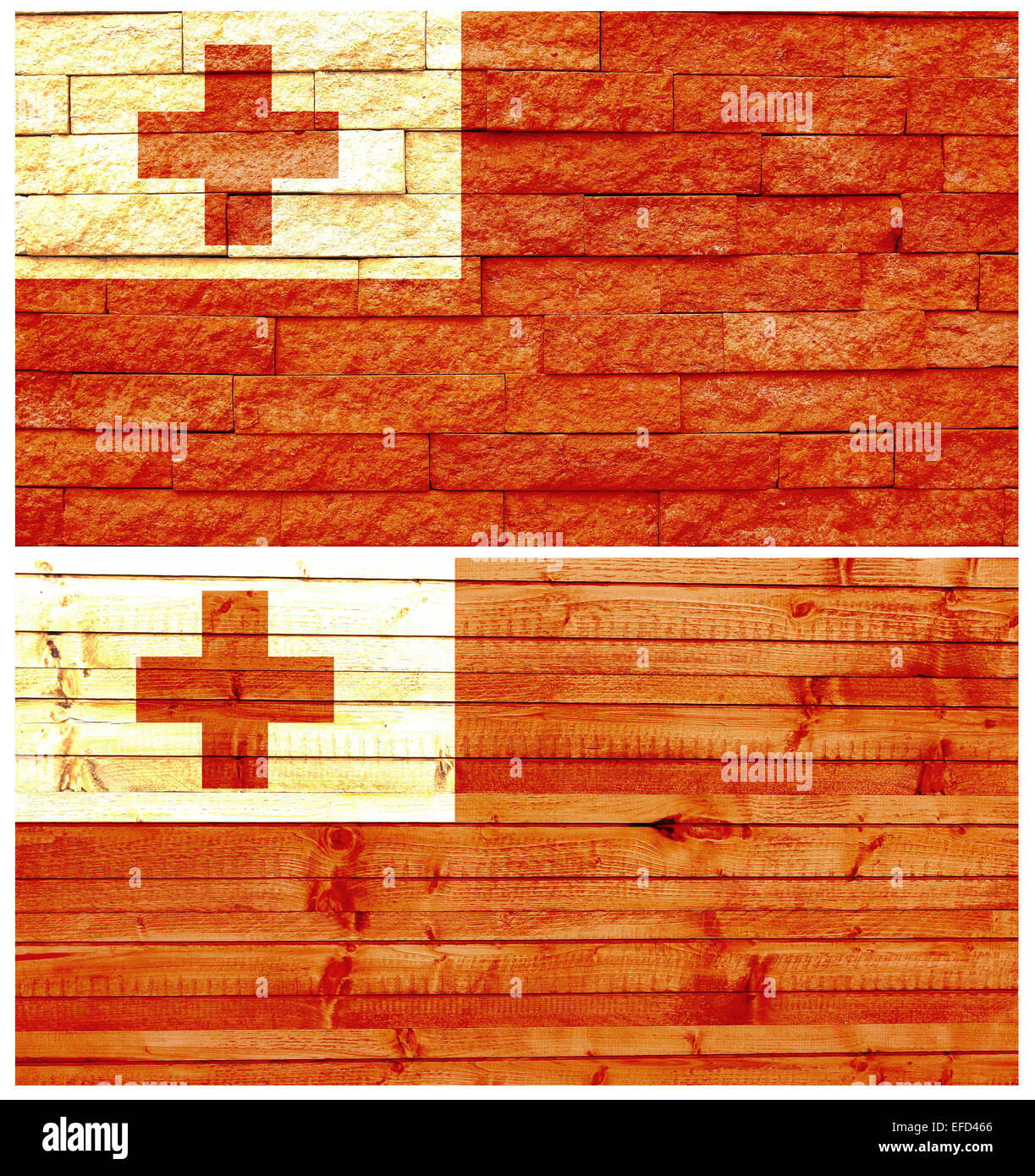 Vintage wall flag of Tonga - Stock Image