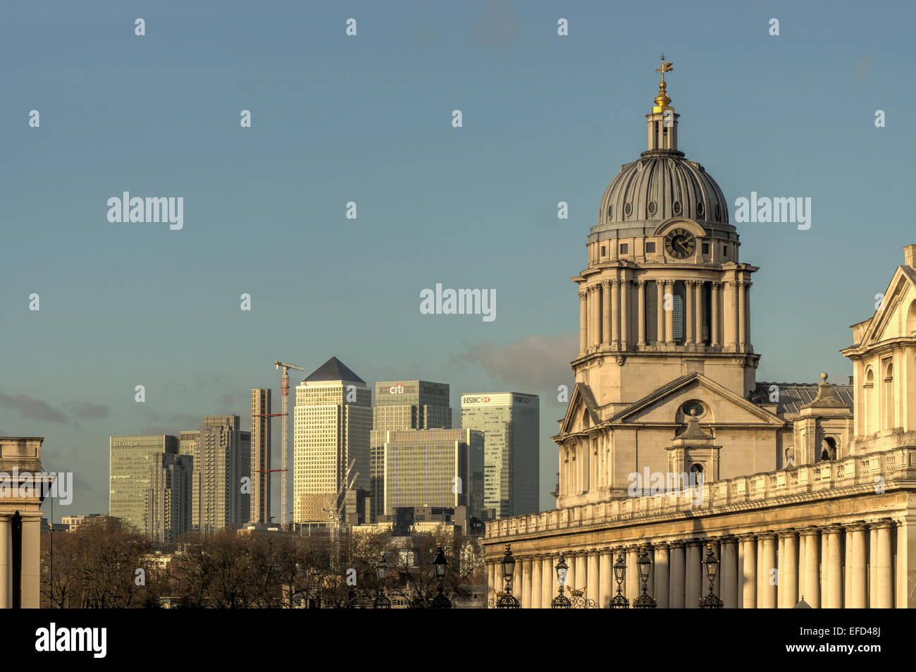 Greenwich Royal Hospital and Canary Whart - Stock Image