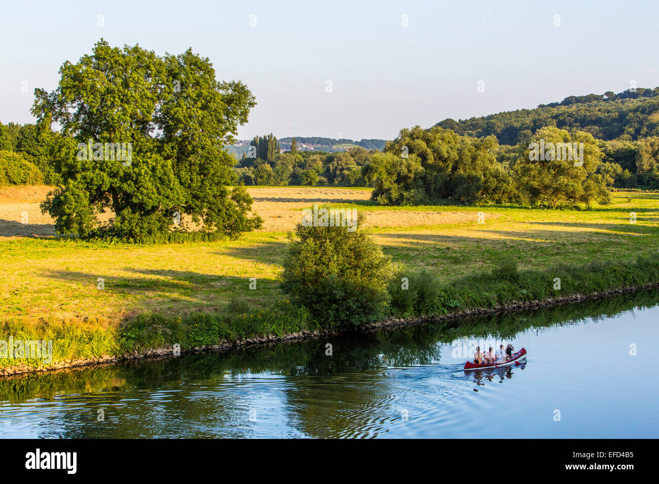 Canoe trip on river Ruhr, Essen, Germany, - Stock Image