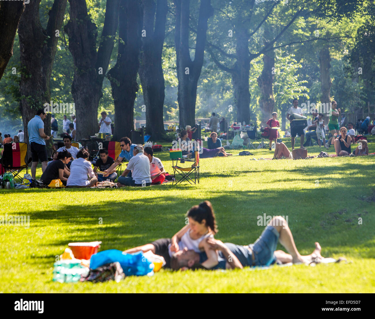 Park at the banks of river Ruhr Essen, Germany, recreational area in summer, BBQ place, - Stock Image
