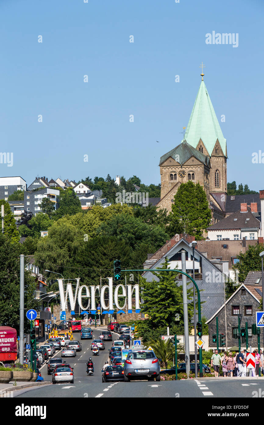 City of Essen-Werden, southern district at river Ruhr, - Stock Image