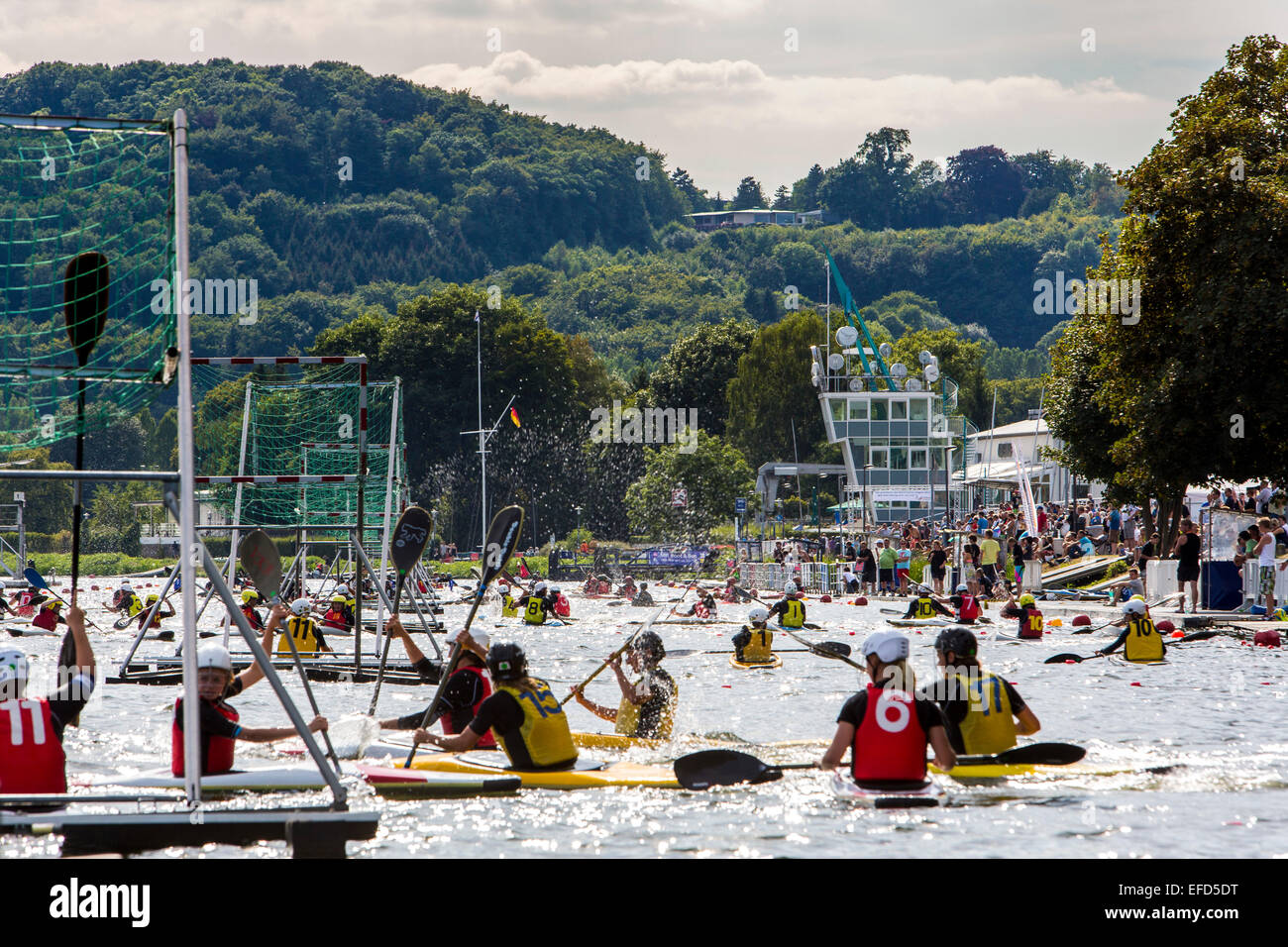 Biggest canoe polo tournament at 'Baldeneysee' lake, river Ruhr, in Essen, Germany, with over 1300 participants, - Stock Image