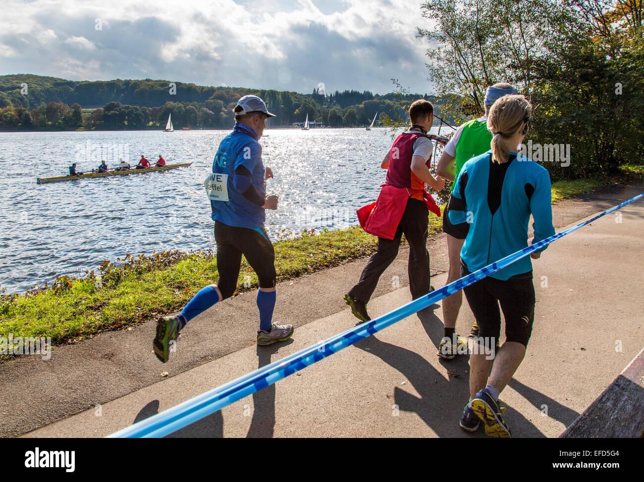 Marathon around the 'Baldeneysee' lake, Essen, Germany - Stock Image