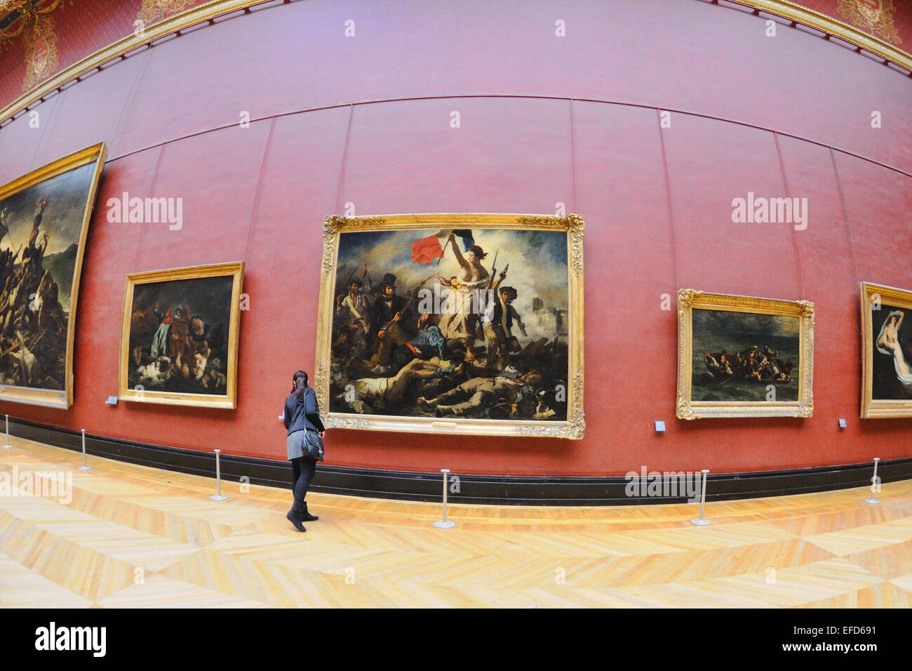 PARIS - MAR 1: The paintings of Eugene Delacroix at the Louvre Museum (Musee du Louvre). - Stock Image