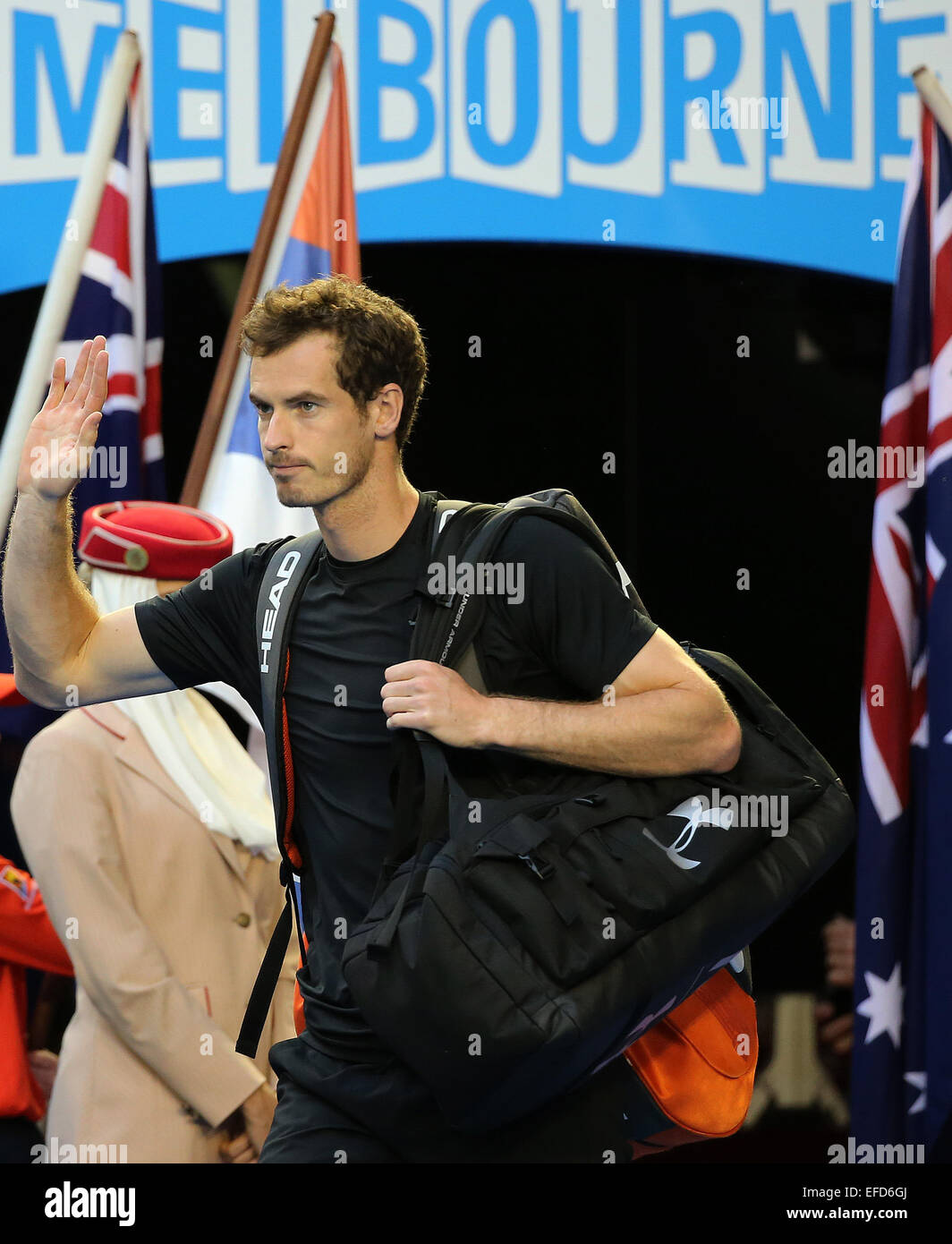 Melbourne, Australia. 1st Feb, 2015. Andy Murray of Great Britain enters the court before his men's singles - Stock Image