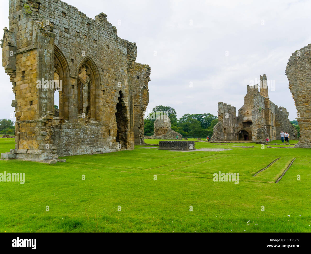 Ruins of the twelfth century  Premonstratensian Abbey of St John the Baptist at Egglestone County Durham England - Stock Image