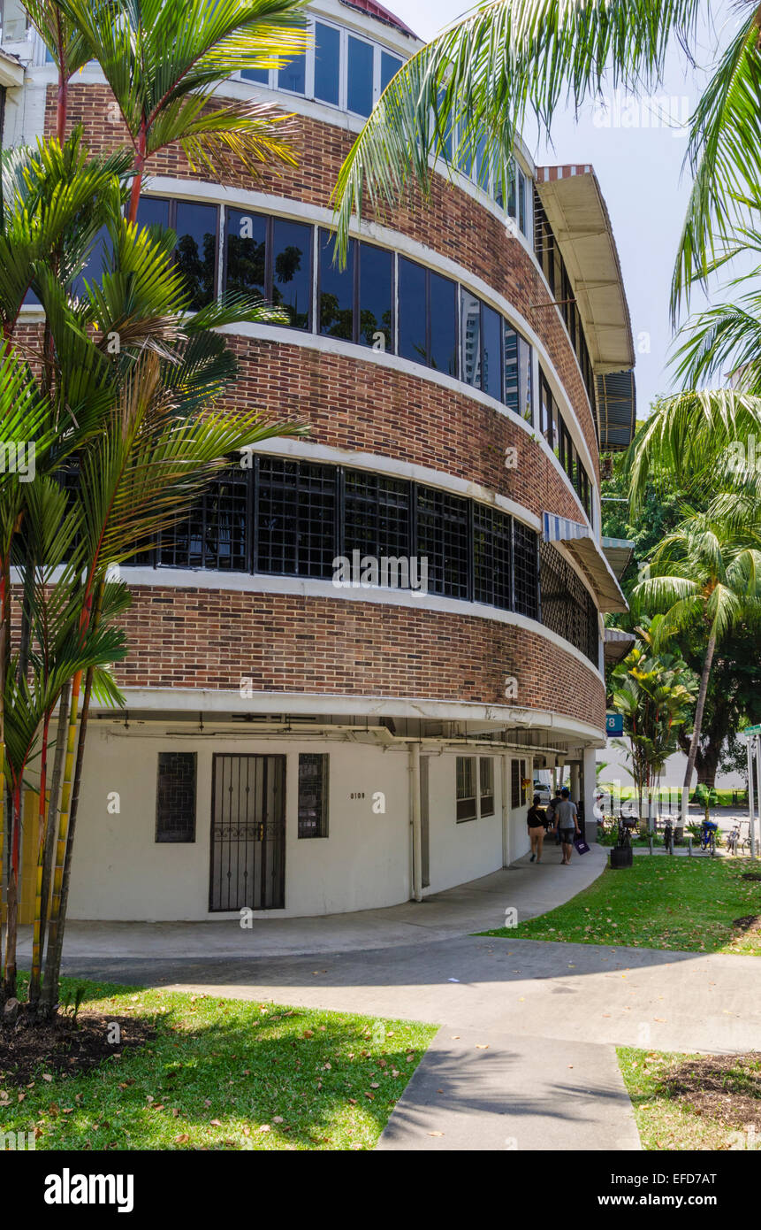 Streamline Moderne architectural style buildings in the Tiong Bahru ...