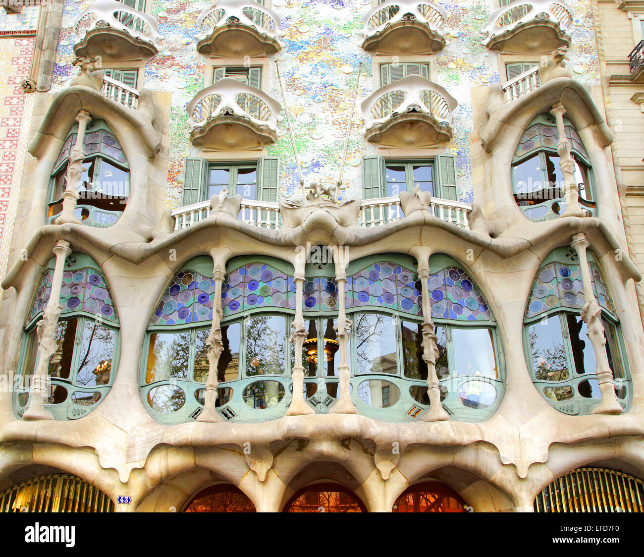 Gaudi Antoni Casa Batllo Mila Window Spanish Architecture Beautiful Vintage Modernism Pedrera Famous Balcony Glass Catalonia Art