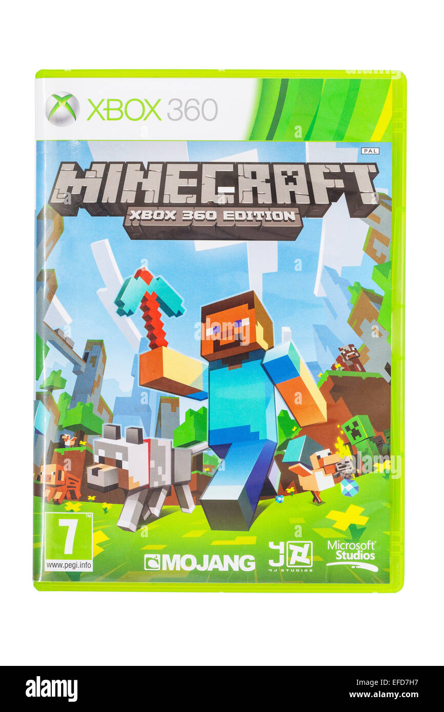The Microsoft XBOX 360 Minecraft game on a white background - Stock Image