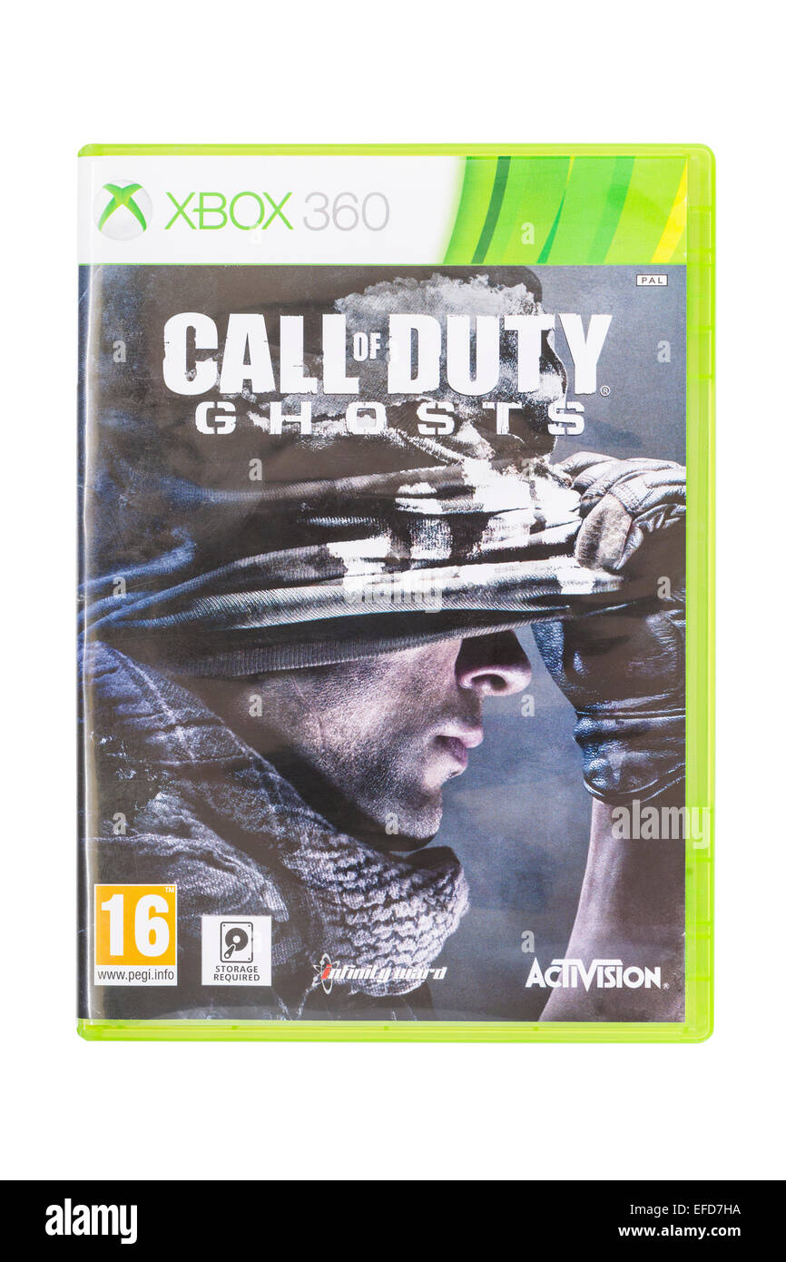The Microsoft XBOX 360 Call of Duty Ghosts game on a white background - Stock Image