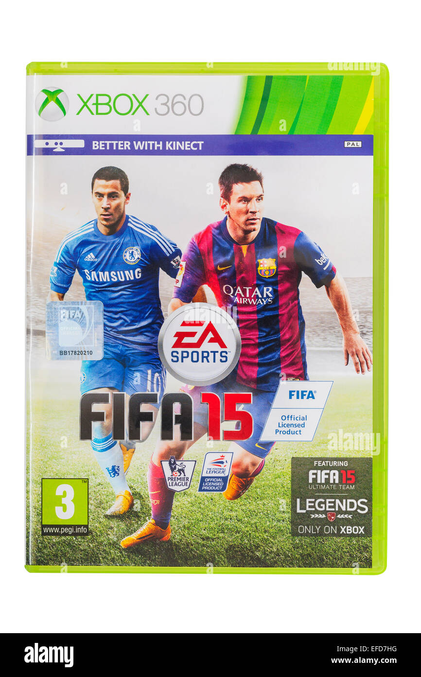 The Microsoft XBOX 360 Fifa 15 football  game on a white background - Stock Image