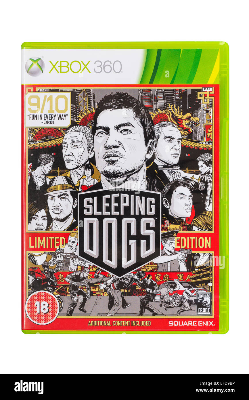 The Microsoft XBOX 360 Sleeping Dogs game on a white background - Stock Image
