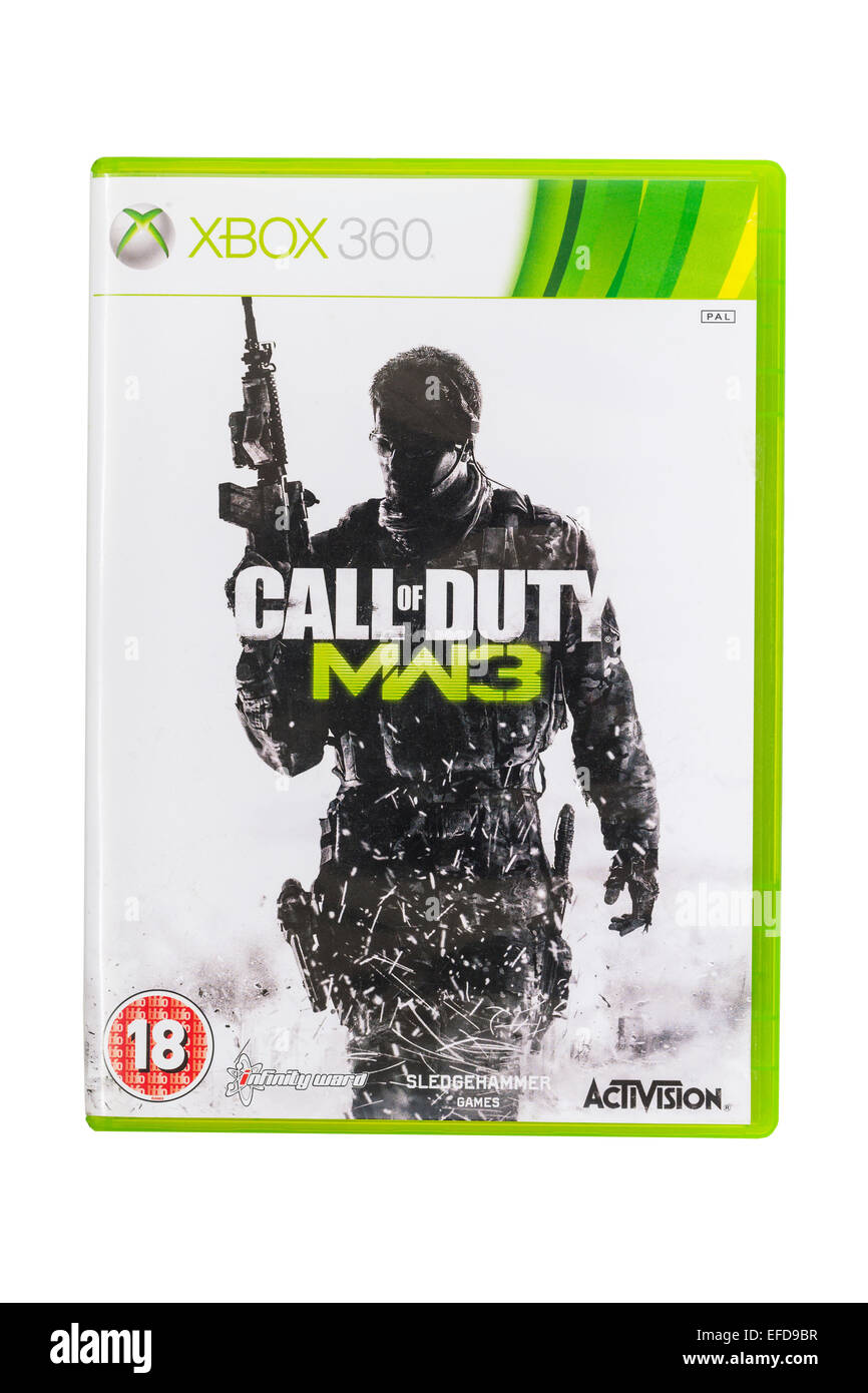 The Microsoft XBOX 360 Call of Duty MW3 game on a white background - Stock Image