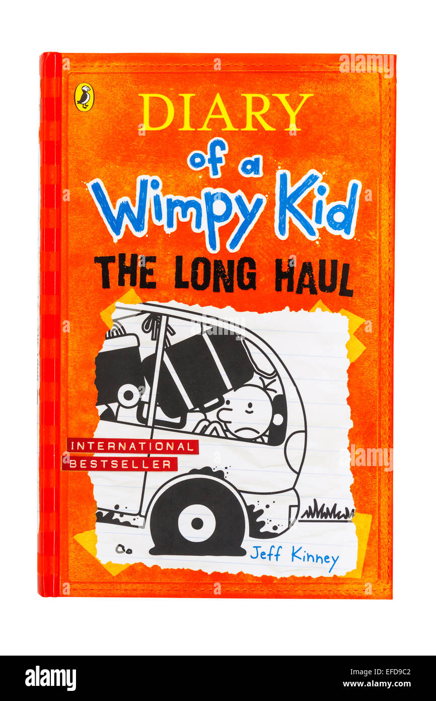 The book called Diary of a Wimpy Kid The Long Haul by Jeff Kinney on a white background - Stock Image