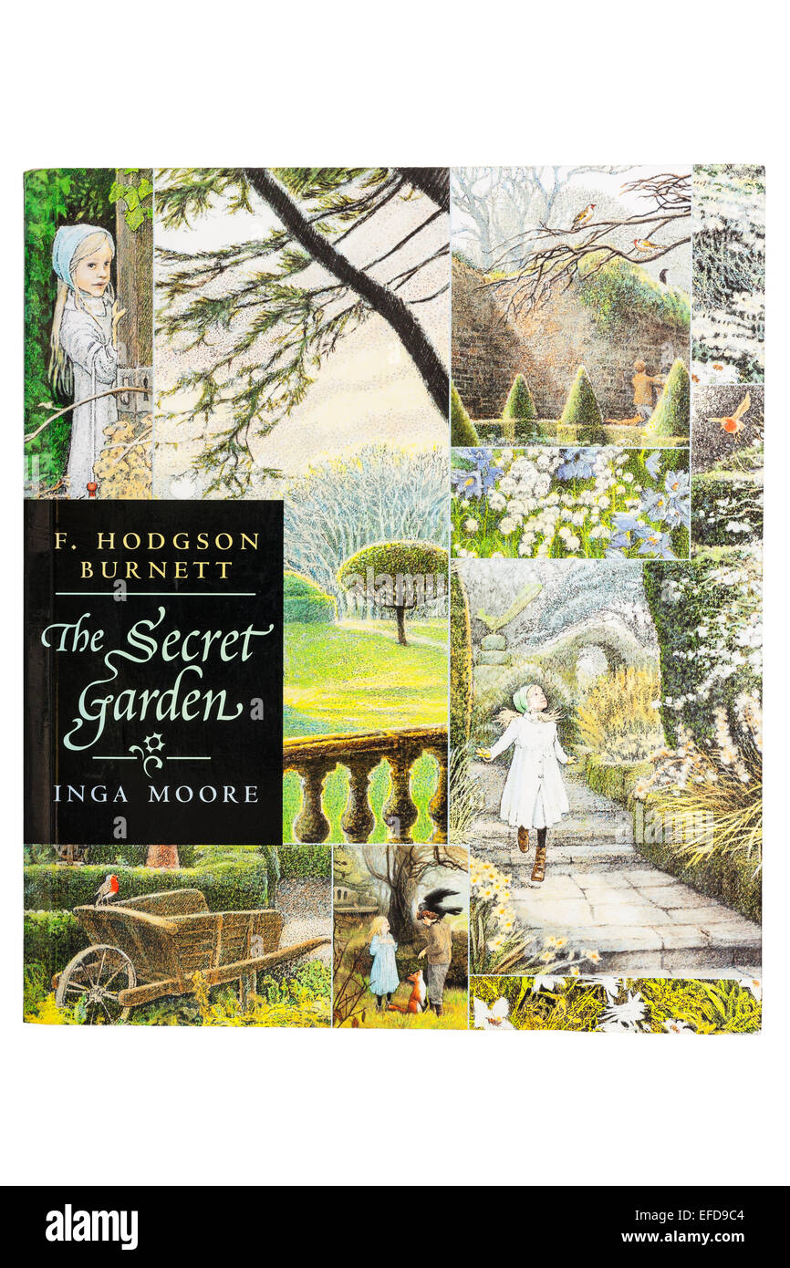 The book called The Secret Garden on a white background - Stock Image