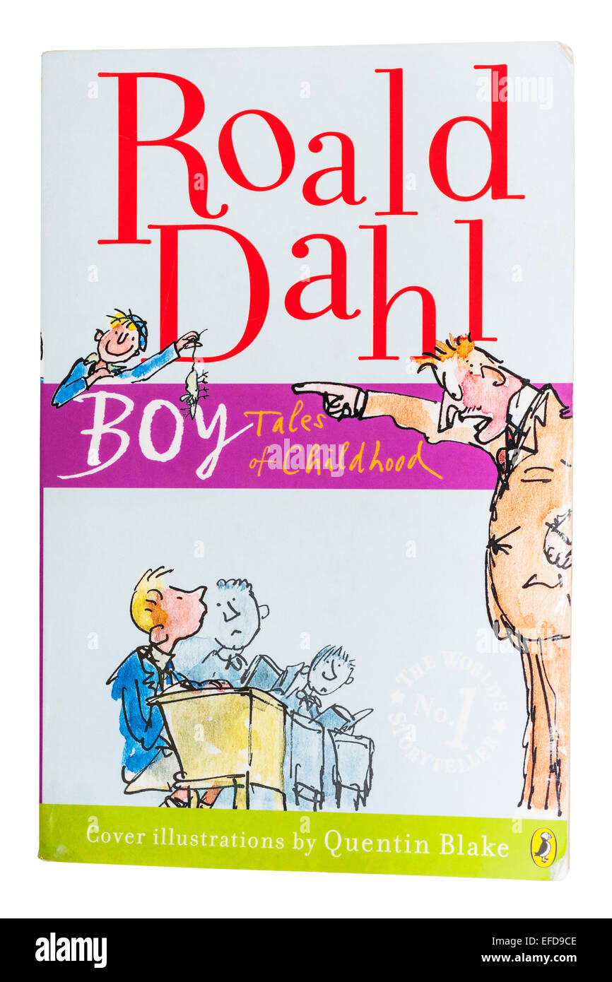 The Boy Tales of Childhood book written by Roald Dahl on a white background - Stock Image