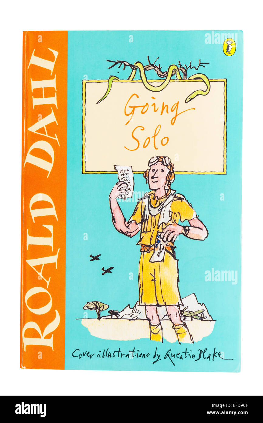 The Going Solo book written by Roald Dahl on a white background - Stock Image