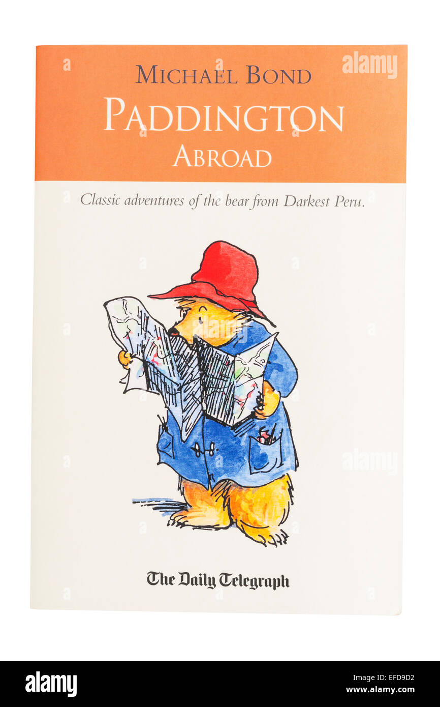 The Paddington Abroad book written by Michael Bond on a white background - Stock Image