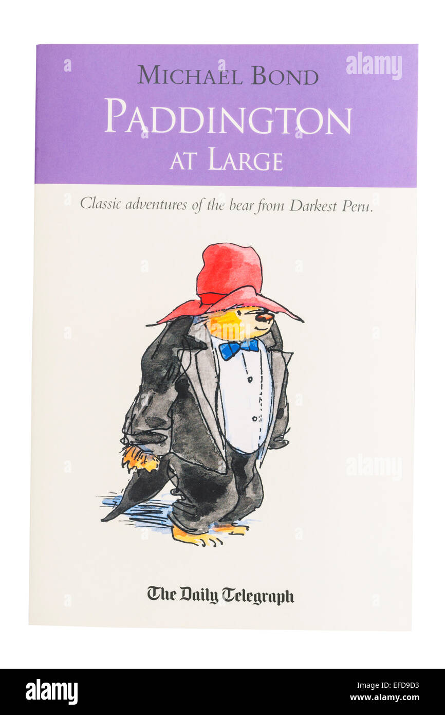 The Paddington at Large book written by Michael Bond on a white background - Stock Image