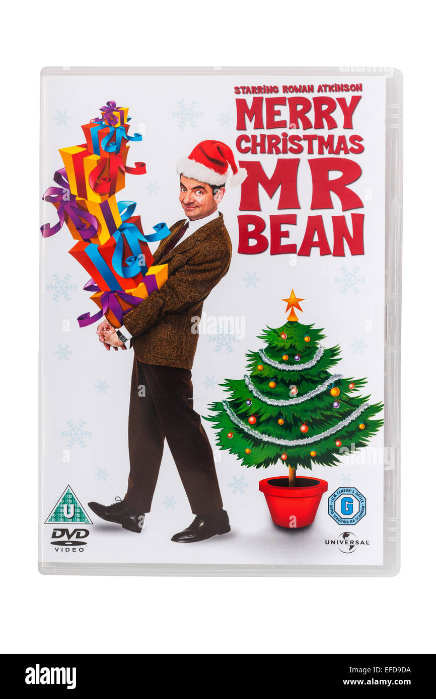 Merry Christmas Mr Bean film DVD on a white background - Stock Image