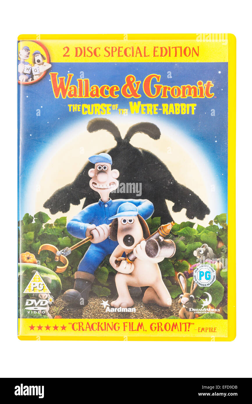 A Wallace & Gromit film DVD on a white background - Stock Image