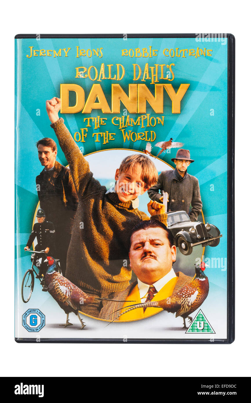 Roald Dahl's Danny the champion of the world film DVD on a white background - Stock Image