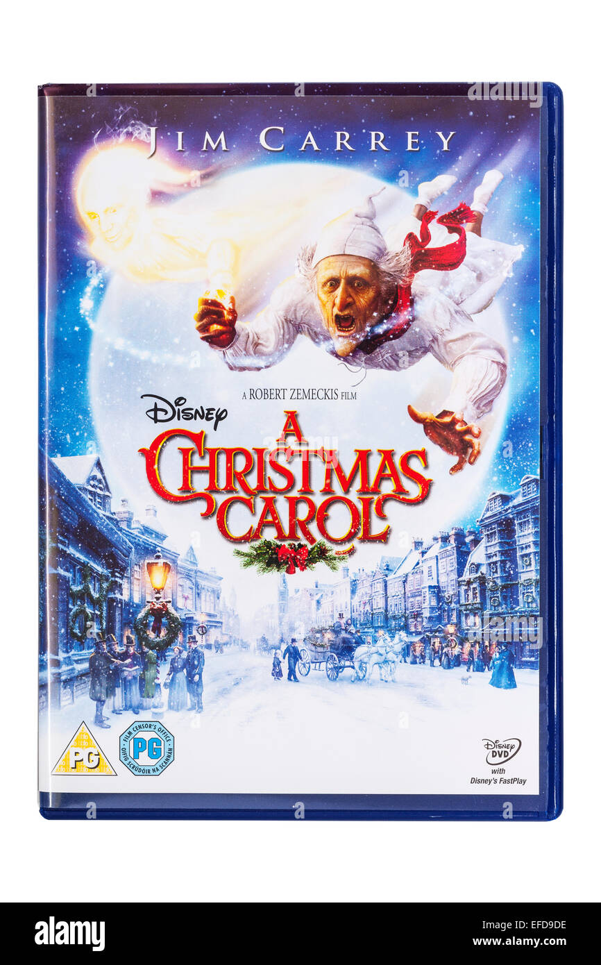 a christmas carol film dvd on a white background stock image