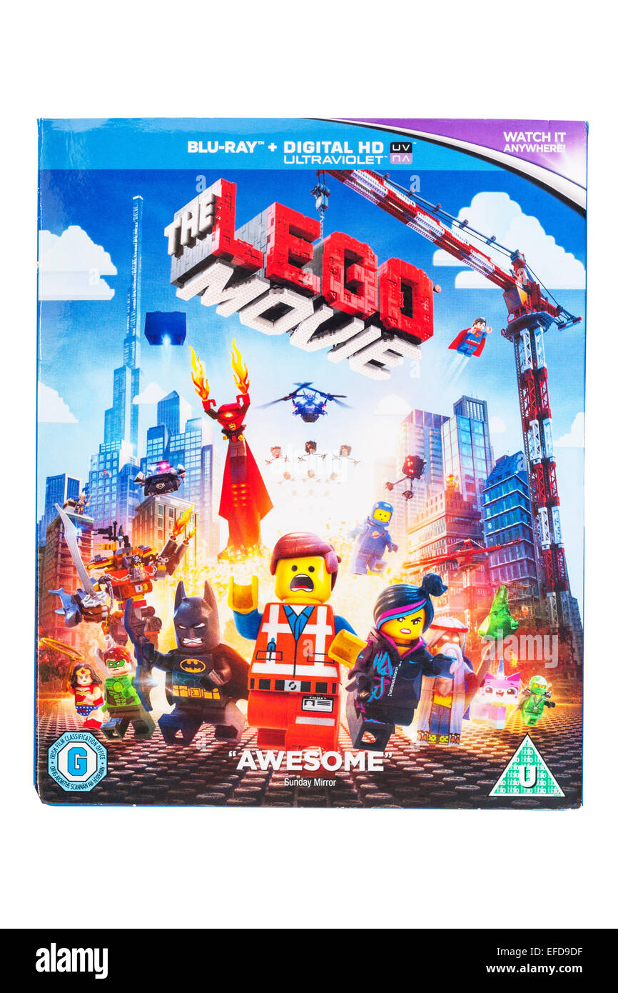 The Lego Movie film DVD on a white background - Stock Image