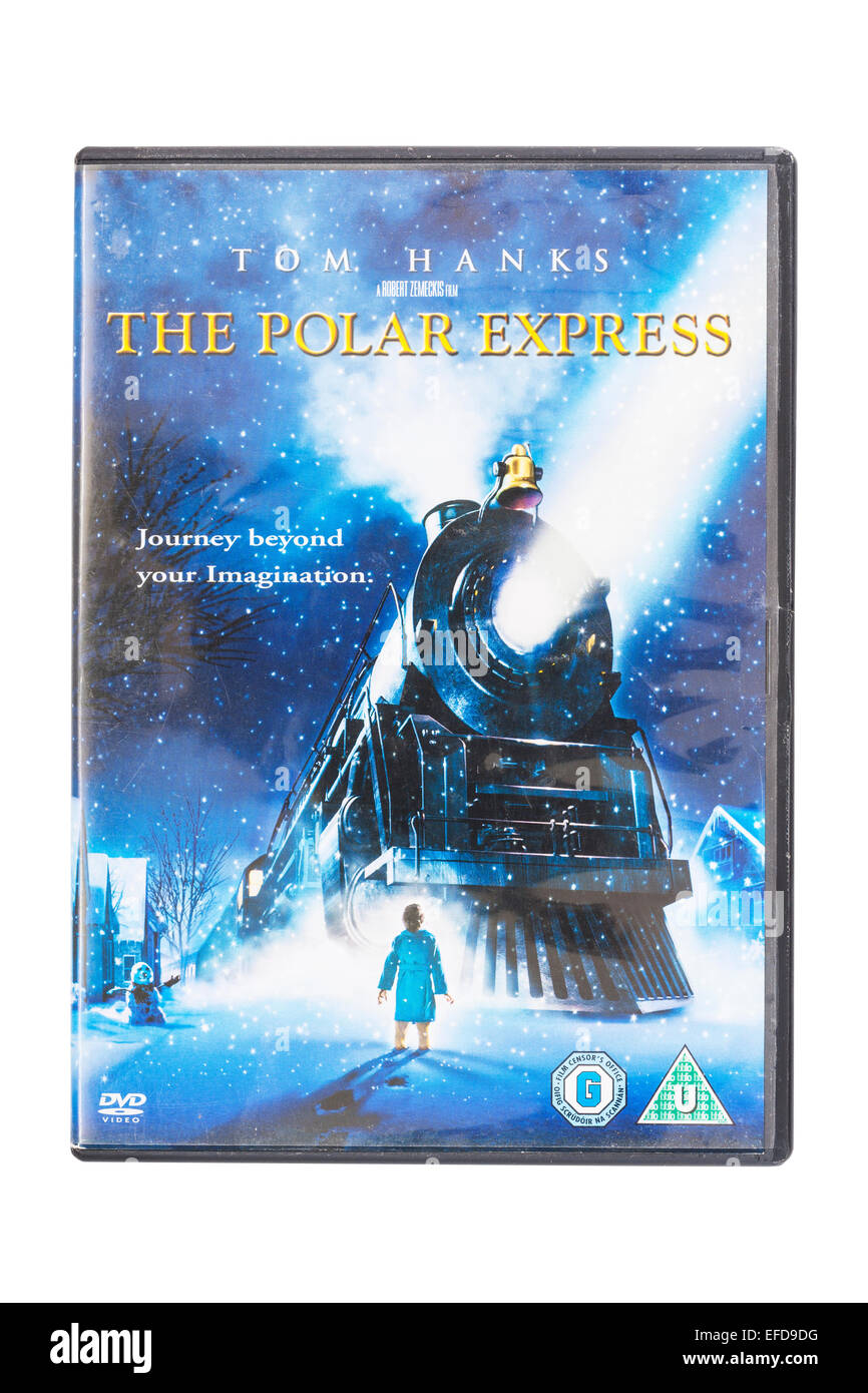 The Polar Express film DVD on a white background - Stock Image