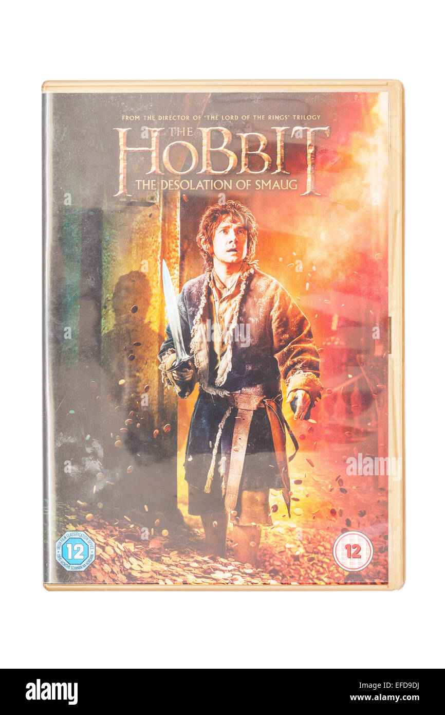 The Hobbit The Desolation of Smaug film DVD on a white background - Stock Image
