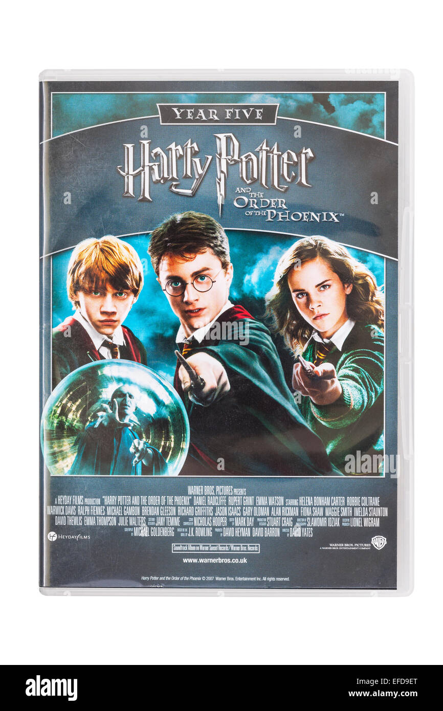 Harry Potter and the order of the Phoenix the film DVD on a white background - Stock Image