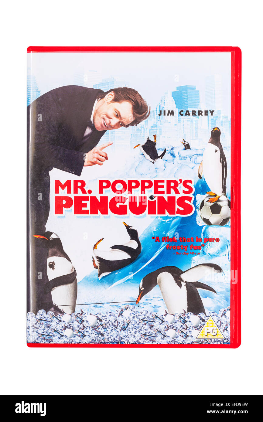 Mr. Popper's Penguins the film DVD on a white background - Stock Image
