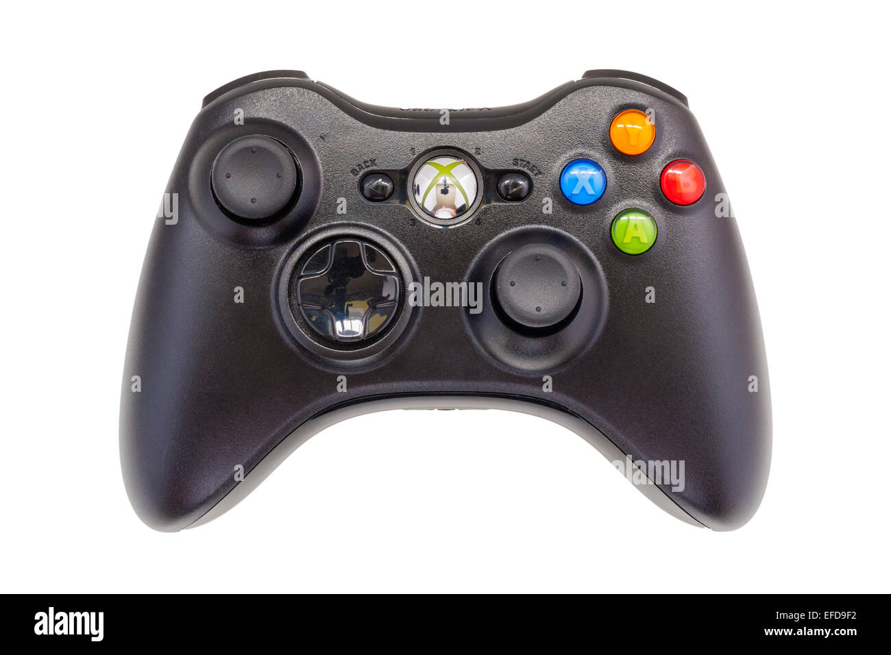 An XBOX 360 game controller handset on a white background - Stock Image