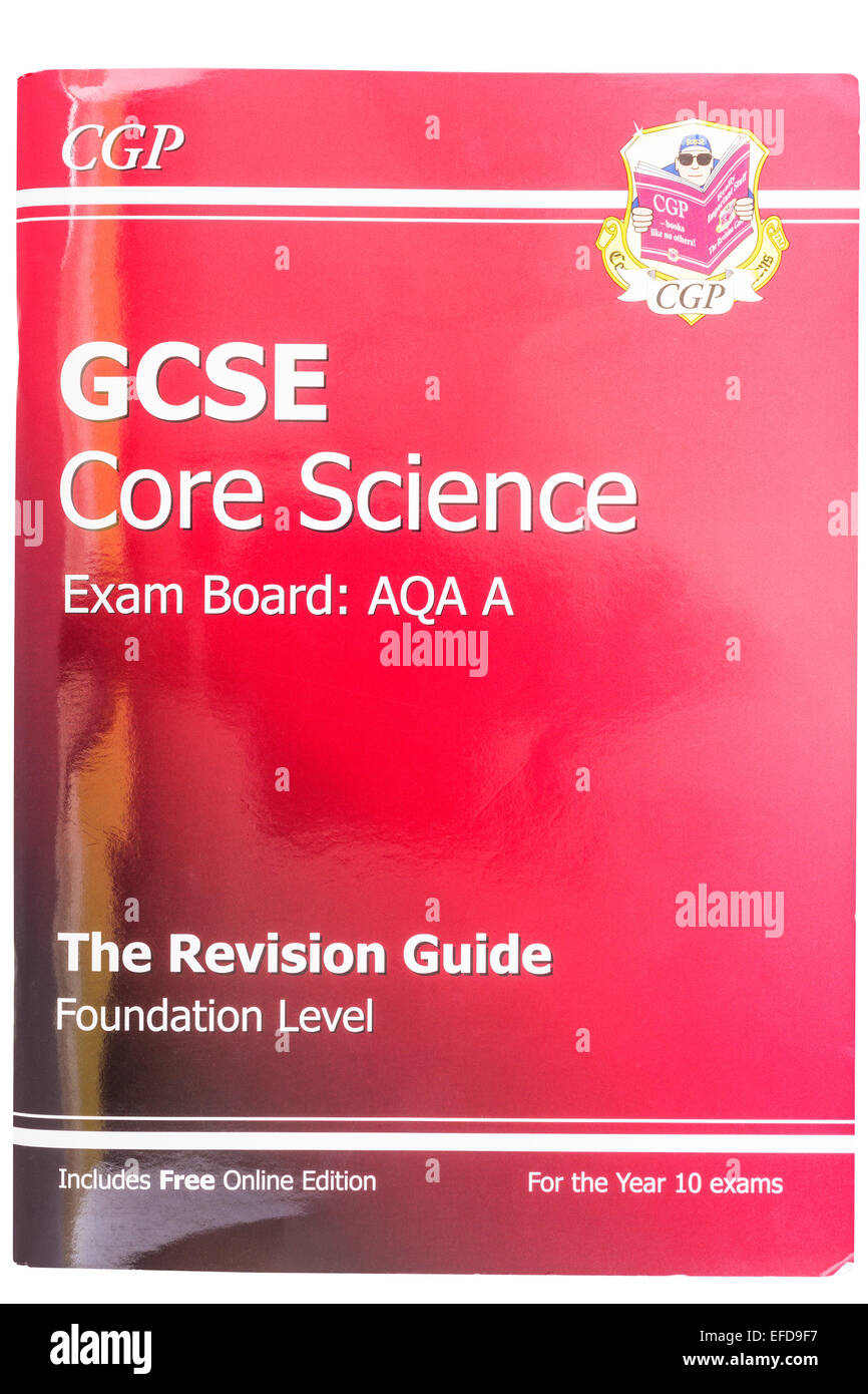 A GCSE Core Science Revision Guide book on a white background - Stock Image