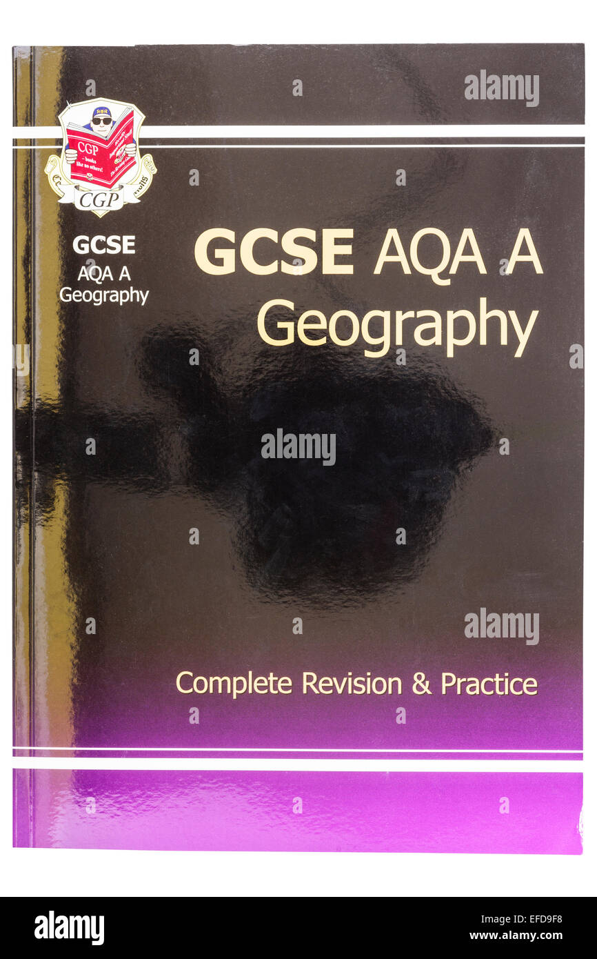 A GCSE Geography Revision Guide book on a white background - Stock Image