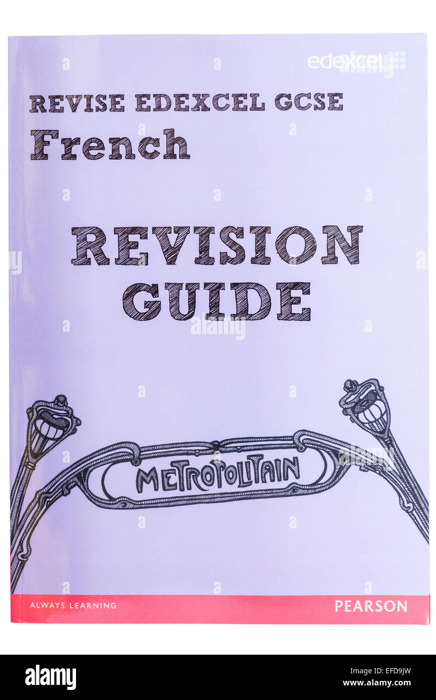 A GCSE French Revision Guide book on a white background - Stock Image