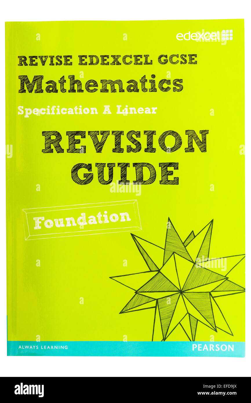 A GCSE Mathematics Revision Guide book on a white background - Stock Image