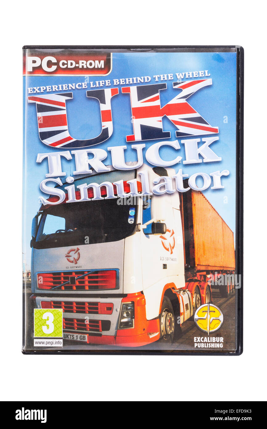 A PC CD-ROM UK Truck SIMULATOR Computer Game on a white background - Stock Image