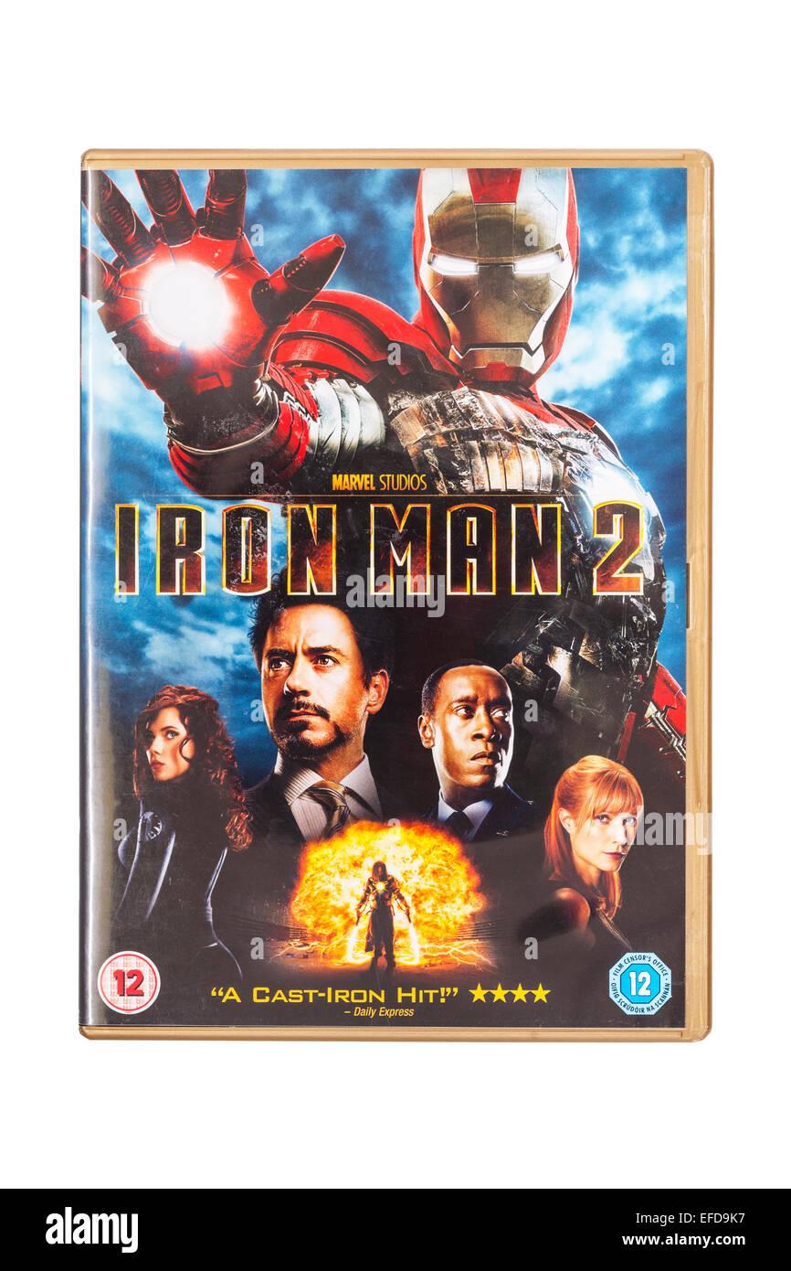 The Iron Man 2 film DVD on a white background - Stock Image