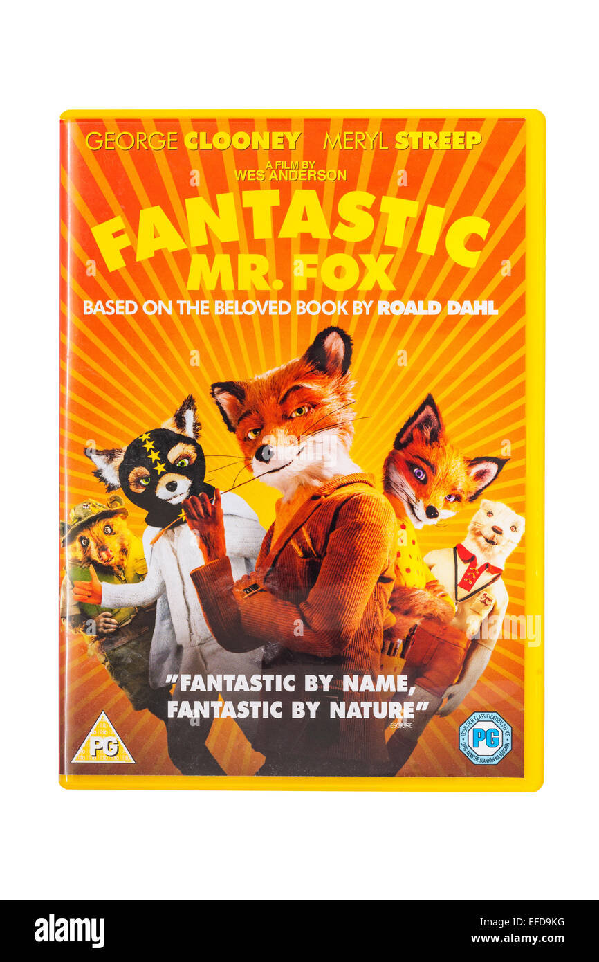 The Fantastic Mr. Fox  film DVD on a white background - Stock Image