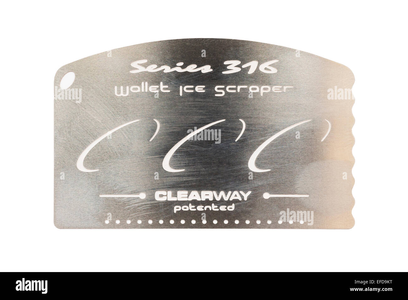 A Wallet ice scraper for scraping ice from your car windscreen on a white background - Stock Image