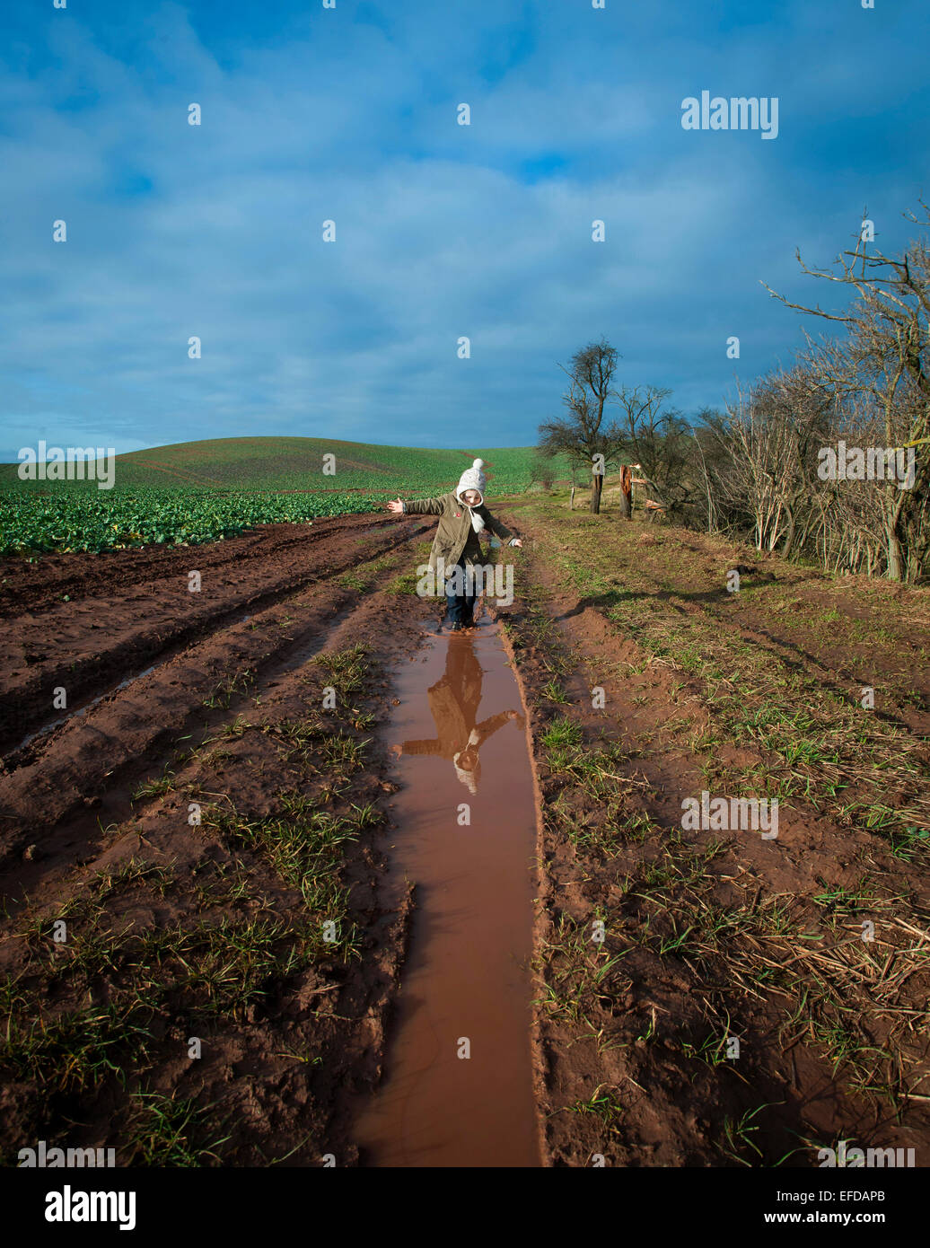 Young girl playing in puddles of water in the countryside. - Stock Image