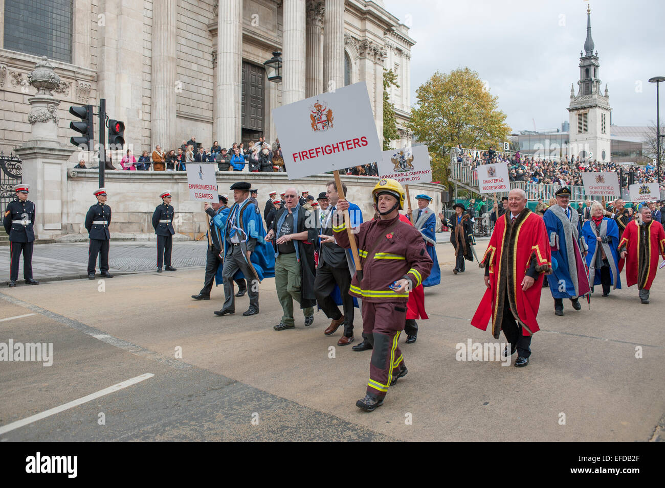 Modern Livery Companies parade at The Lord Mayors Show procession in the City of London, 2014 - Stock Image