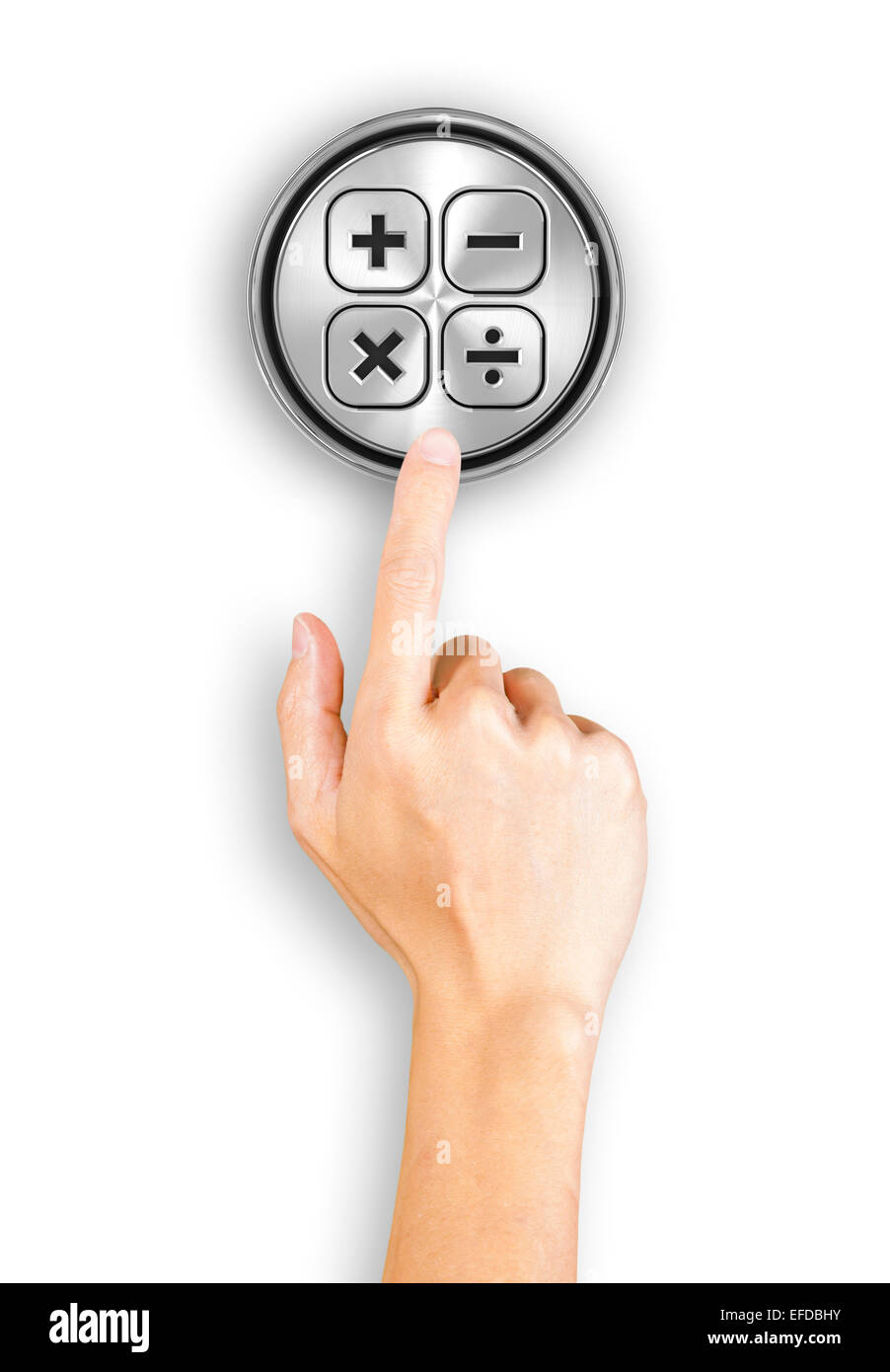 Clicking a button with calculation sign - Stock Image