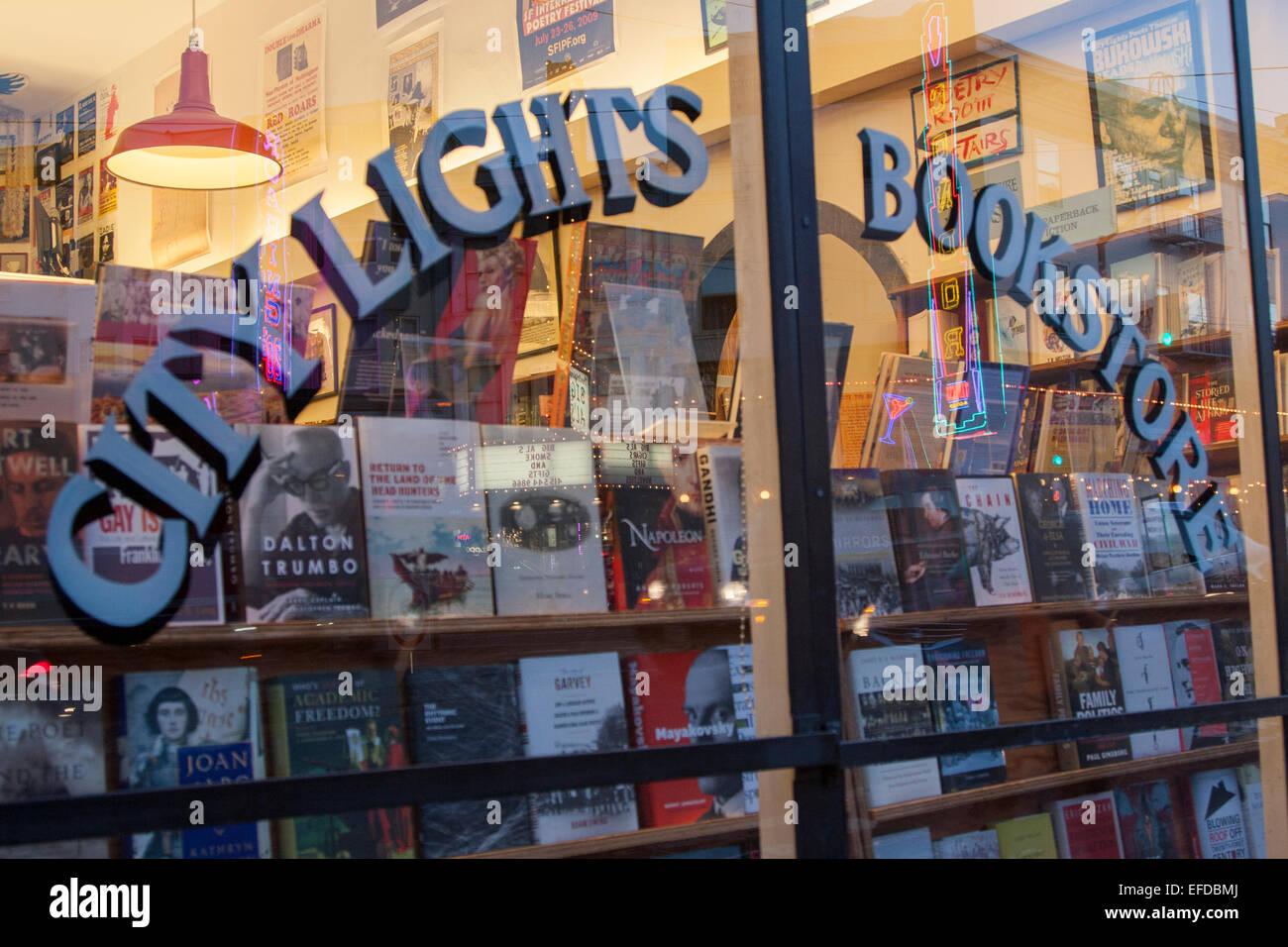 City Lights Bookstore in North Beach, San Francisco, California. - Stock Image
