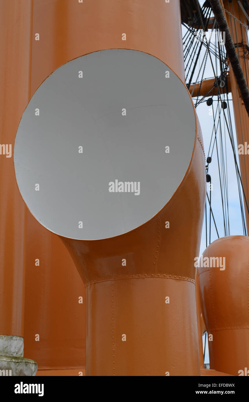 Ships ventilation funnel on a Victorian military vessel. - Stock Image