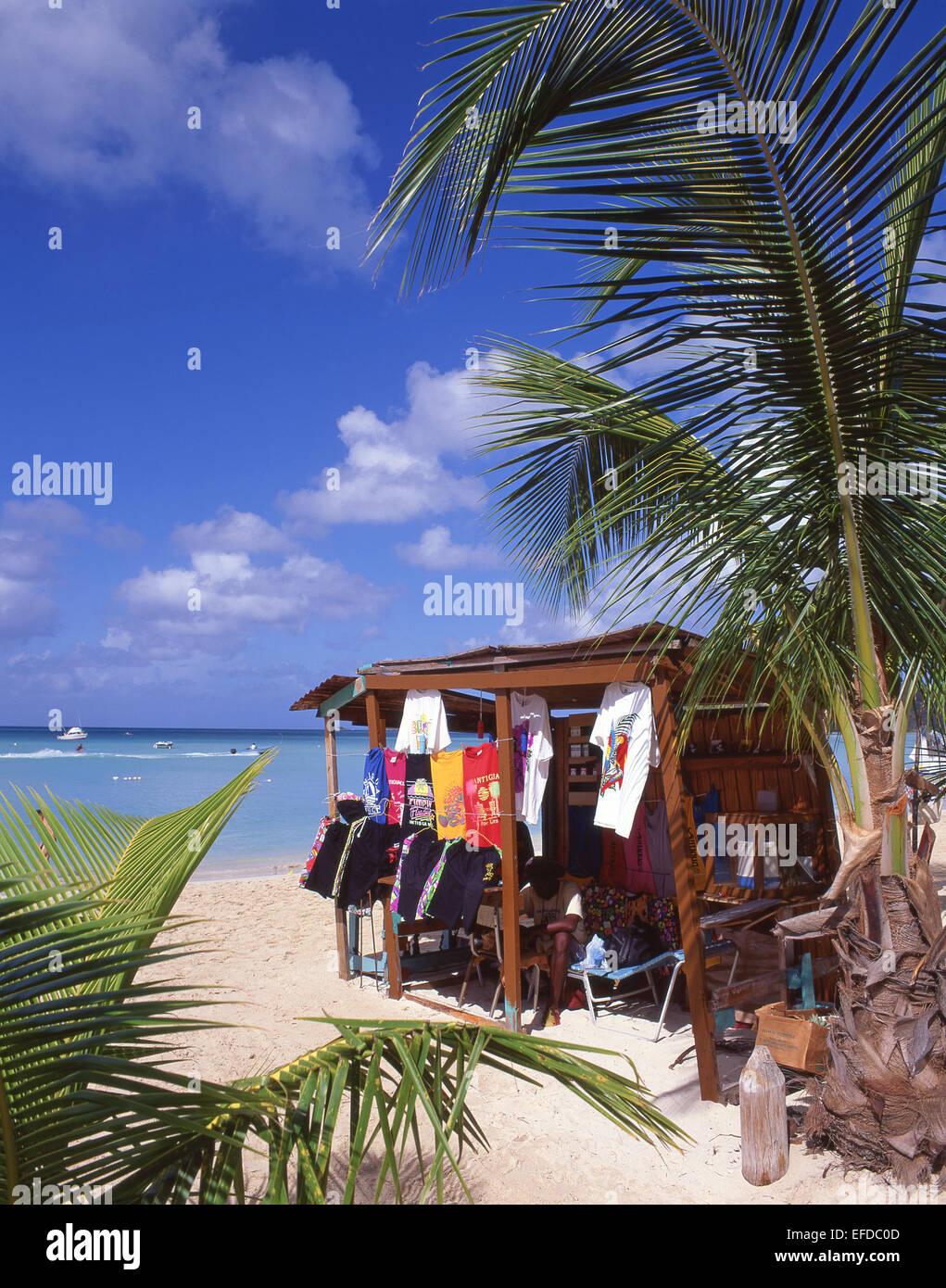 Beach stall at Jolly Beach Resort & Spa, Saint Mary's Parish, Antigua, Antigua and Barbuda, Lesser Antilles, - Stock Image