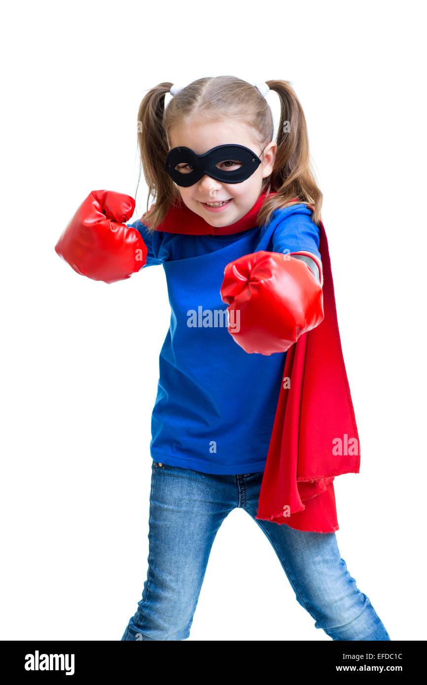 Superhero kid girl with boxing gloves - Stock Image