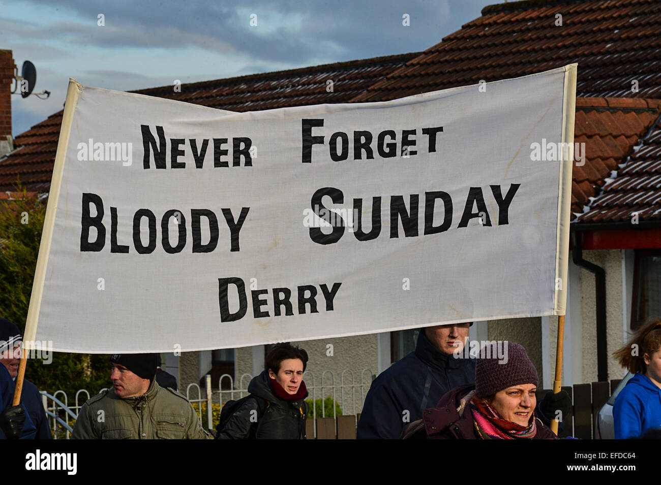 Londonderry, Northern Ireland, UK. 1st February, 2015.  Banner carried at the Bloody Sunday commemoration. The march Stock Photo